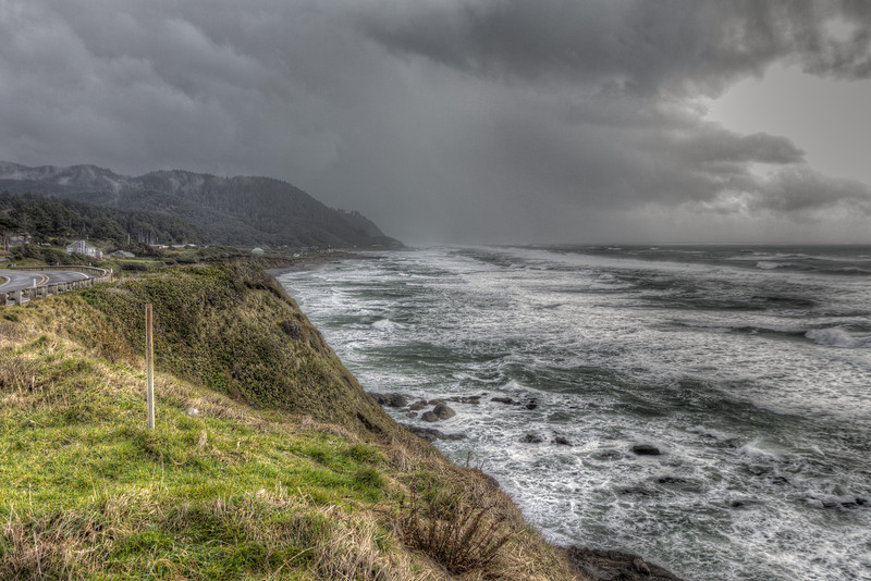Looking back at a storm on Hwy 101