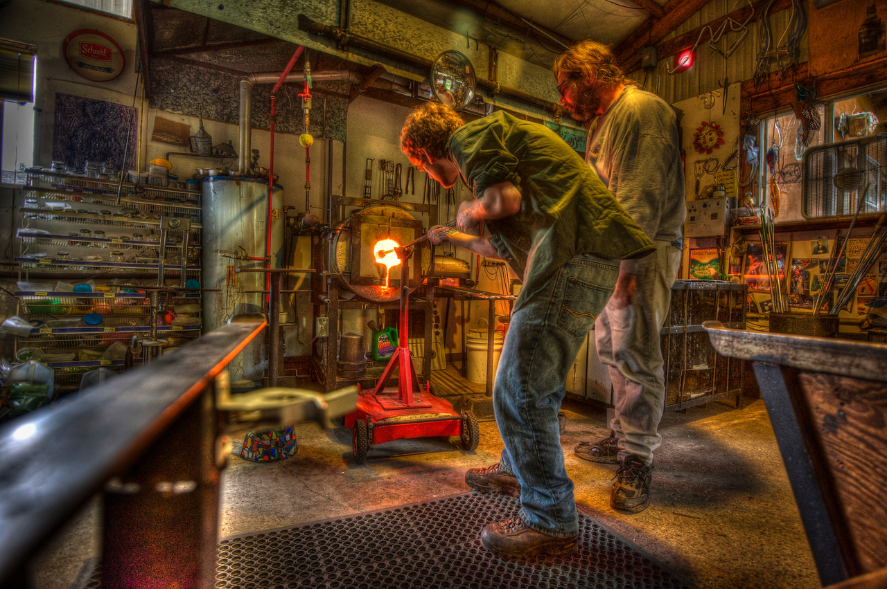 A 5 EV HDR Photograph of Edward Bain (my brother) and Ed Schmid blowing glass in Ed Schmid's studio in Bellingham Washingon.  Taken with a Nikon d700, edited in Photomatix & Lightroom.