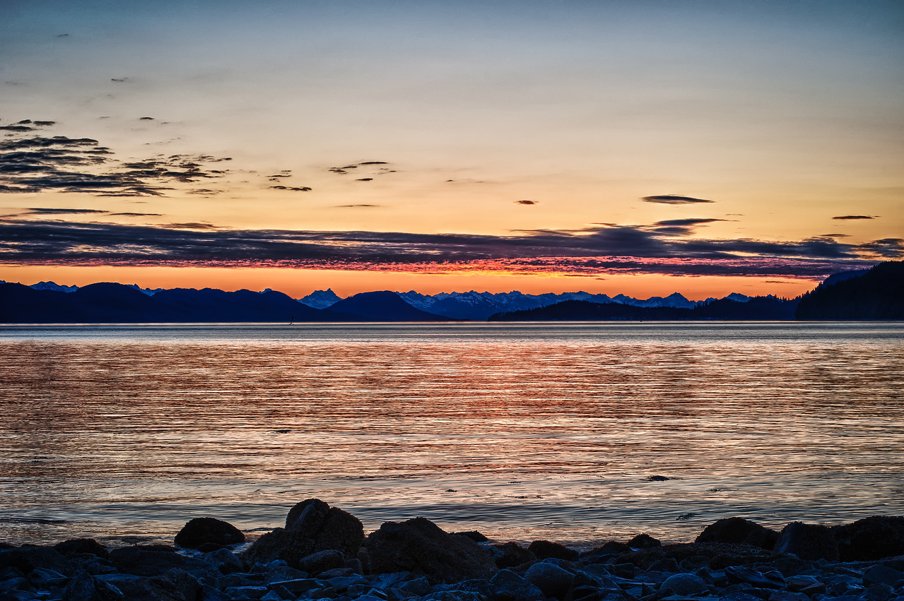 A 7 EV HDR Photograph of a late sunset during the summer on Douglas Island Alaska, near Juneau Alaska.  Taken with a Nikon d700, edited in HDR Efex Pro & Lightroom
