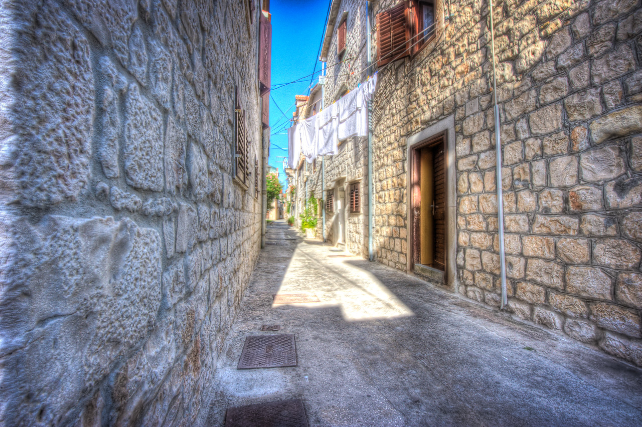 A 5 EV HDR Photograph of narrow streets in Zadar Croatia.  Taken with a Nikon d700, edited in Photomatix & Lightroom.