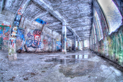Graffiti covers the walls of old building remnants at the Treadwell Gold Mine on Douglas Island Alaska, near Juneau Alaska.  A 3 EV HDR photograph shot with a Sony Alpha a300, edited in Photomatix & Lightroom.
