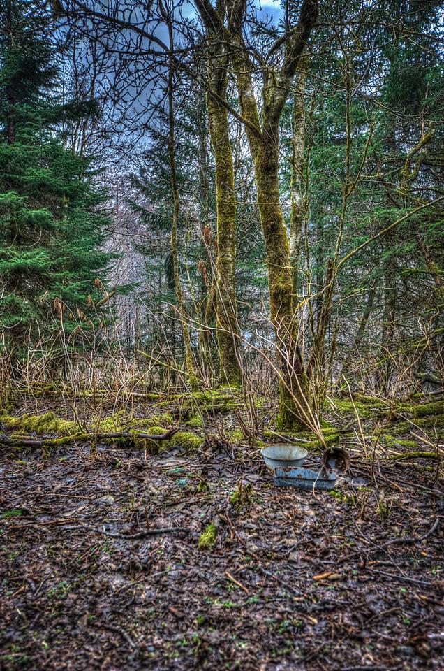 A 5 EV HDR photograph of remnants found near the Treadwell Gold Mine on Douglas Island Alaska, near Juneau Alaska.  Shot with a Nikon d700, edited in Photomatix & Lightroom.