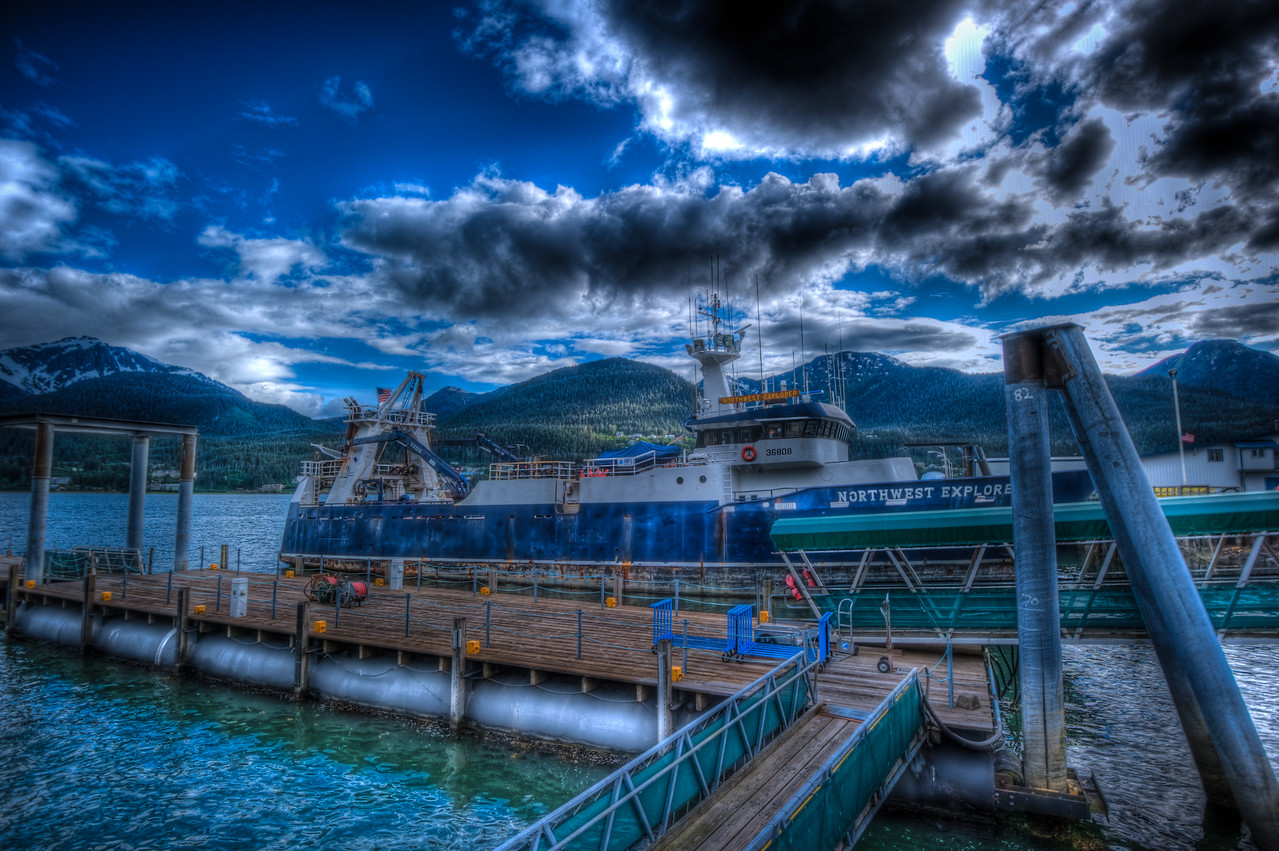 "A 7 EV HDR Photograph of the ""Northwest Explorer"" docked in Downtown Juneau Alaska.  Douglas Island is visible in the background.  Taken with a Nikon d700, edited in Photomatix & Lightroom."
