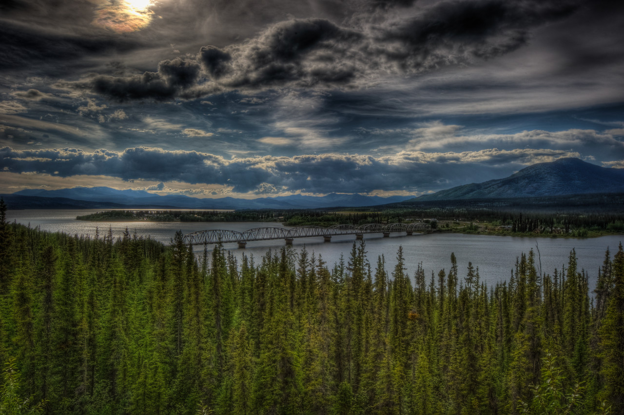A 7 EV HDR Photograph Taken near Tagish along the Alaska Highway.  Taken with a Nikon d700, edited in Photomatix & Lightroom.