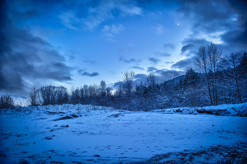 A 7 EV HDR Photograph from a snow covered Sandy Beach on Douglas Island Alaska, near Juneau Alaska.  Taken with a Nikon d700, edited in HDR Efex Pro & Lightroom.