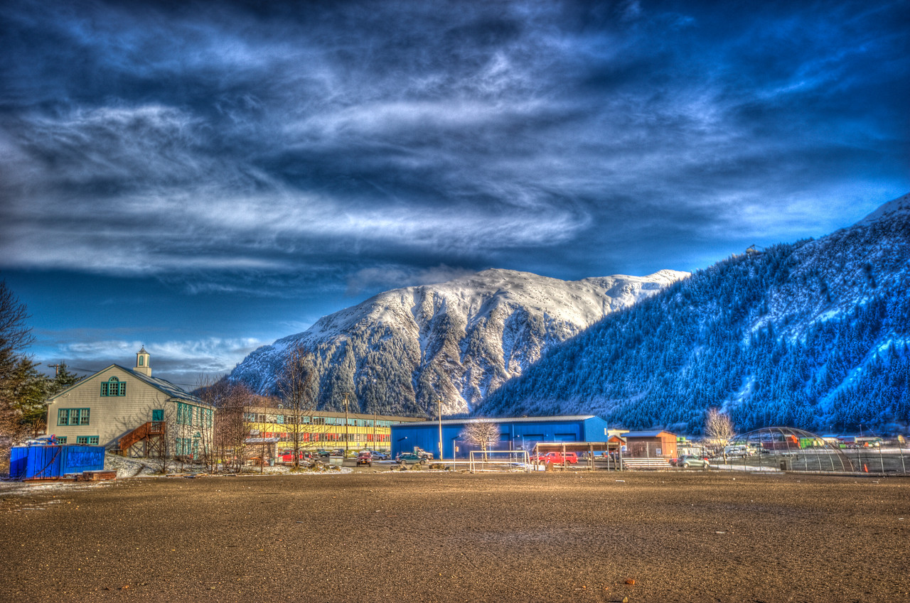 A 5 EV HDR photograph of a ball field with the Douglas Montessori school on the left, & Mt. Juneau in the background.  Taken with a Nikon d700, edited in Photomatix & Lightroom.