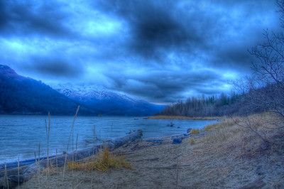 An early HDR photo taken during high tide at Sandy Beach on Douglas Island looking south down the Gastineau Channel.  A 9 EV shot taken with a Sony Alpha a300, edited in Photomatix & Lightroom.