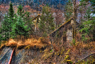 A 9 EV HDR of a remnant of the Treadwell Gold Mine on Douglas Island Alaska near Juneau Alaska.  Shot with a Sony Alpha a300, edited in Photomatix, Topaz Adjust & Lightroom.