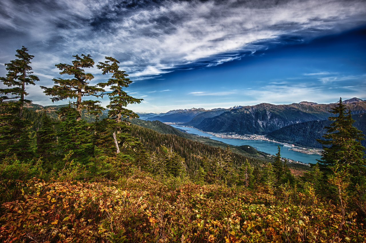 A 5 EV HDR Photograph taken from near the top of Mt. Jumbo on Douglas Island Alaska looking North East across the Gastineau Channel at Juneau Alaska at the base of Mt. Juneau & Mt. Robert's.  Taken with a Nikon d700, edited in HDR Efex Pro & Lightroom.