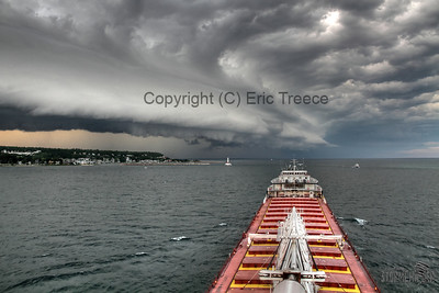 Gorgeous shelf cloud approaching Mackinac Is on July 25, 2011.