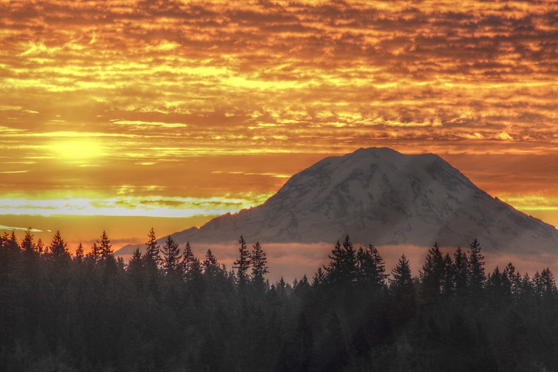 Fire in the Sky<br /> <br /> Mt. Rainier<br /> Allyn, WA