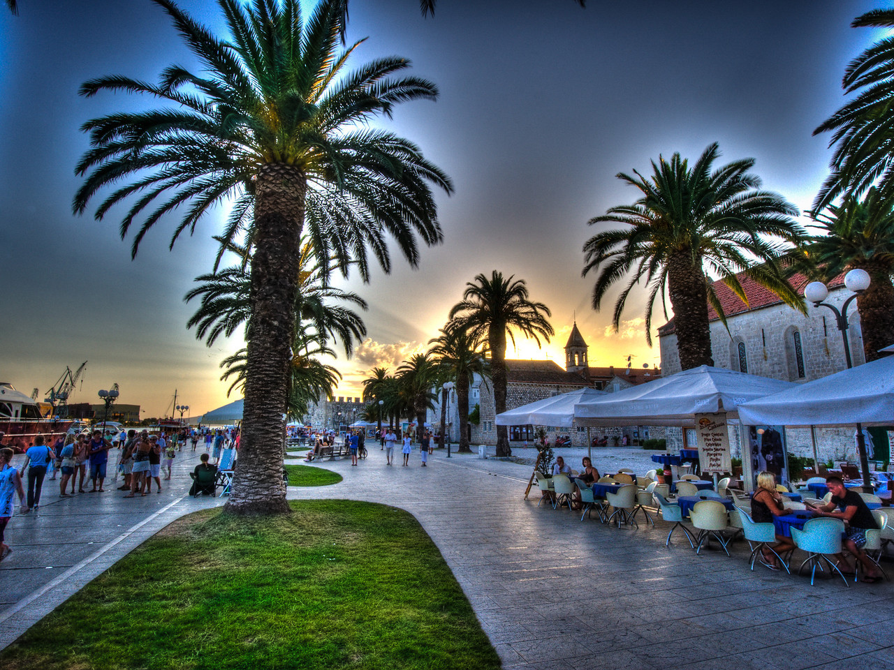 A 7 EV HDR Photograph taken during sunset in the Adriatic beach town of Trogir in Croatia.  Taken with a Nikon d700, edited in Photomatix & lightroom.