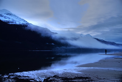 Another Early HDR photograph taken on Sandy Beach on Douglas Island near Juneau Alaska, Mt. Robert's is visible on the left side of the frame across the Gastineau Channel.  Remnants of the Treadwell Mine are visible on the right, these remnants have been a favorite of mine to photograph, just beyond are low clouds and a cool fall sunrise.  Taken with a Sony Alpha a300 & edited in Photomatix & Lightroom.