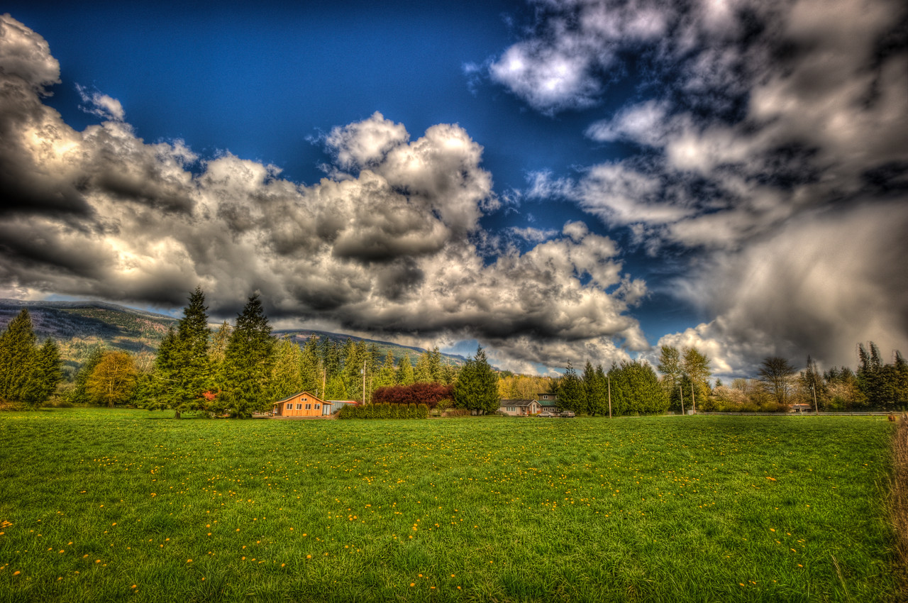 A 5 EV HDR Photograph of a farm field in Sedro Woolley Washington.  Shot with a Nikon d700, edited in Photomatix & Lightroom.