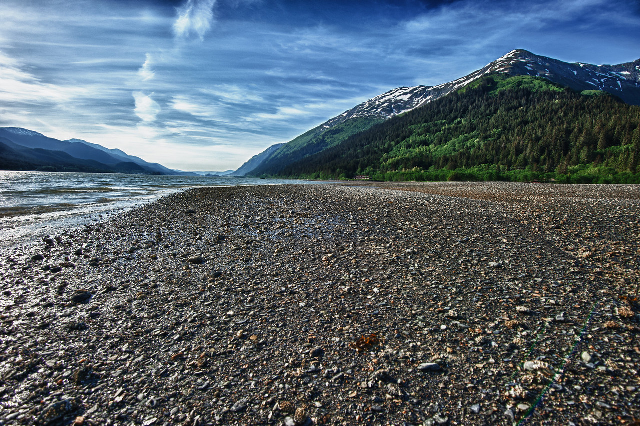 A 7 EV HDR Photograph looking north along the Gastineau Channel towards Juneau Alaska on the Right & Douglas Island on the Left.  Taken with a Nikon d700, edited in HDR Efex Pro & Lightroom.