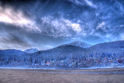 Winter Time at Sandy Beach on Douglas Island Alaska near Juneau, this was taken during sunrise looking toward Mt. Jumbo.  A 9 EV HDR shot with a Sony Alpha a300, edited in Photomatix & Lightroom.