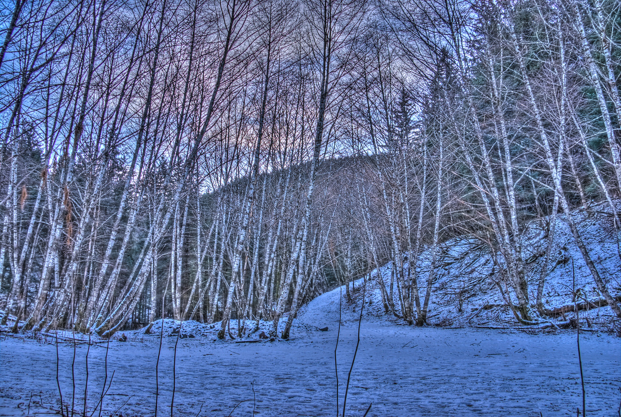 A 9 EV HDR photograph taken at the Treadwell Gold Mine on Douglas Island Alaska, near Juneau Alaska during the winter.  Shot with a Sony Alpha a300, edited in Photomatix & Lightroom.