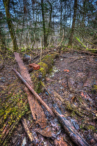 A 5 EV HDR photograph of remnants found near the Treadwell Gold Mine on Douglas Island Alaska, near Juneau Alaska, note the old saw blade.  Shot with a Nikon d700, edited in Photomatix & Lightroom.