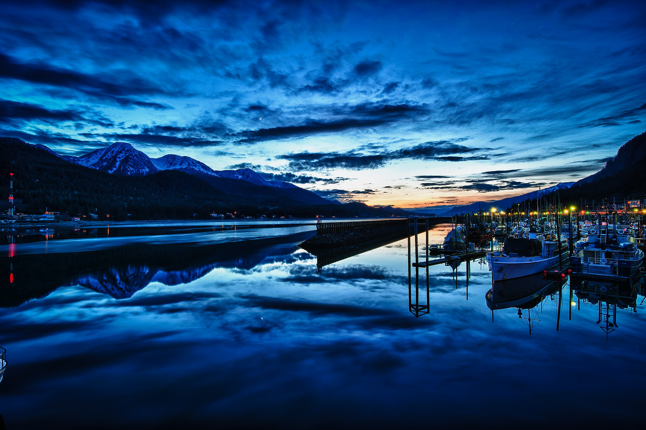 A 7 EV HDR Photograph of the sunset over a harbor in Juneau Alaska.  Douglas Island Alaska is on the left.  Taken with a Nikon d700, edited in HDR Efex Pro & Lightroom.