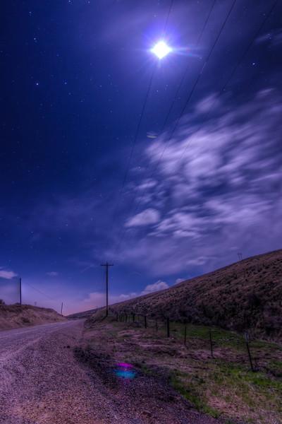 Moon lighting road