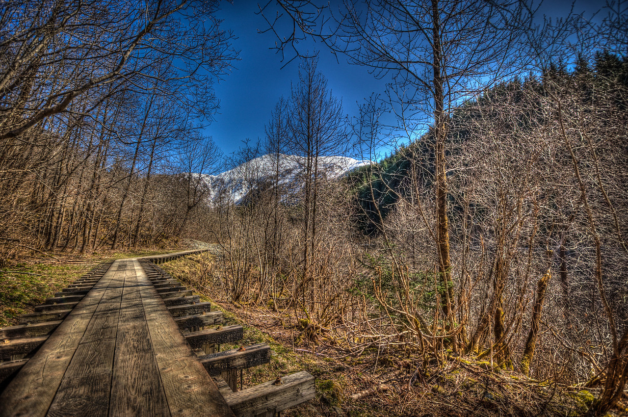 A 5 EV HDR Photograph on the 'flume trail' in the Silverbow Basin near Juneau Alaska.  Taken with a Nikon d700, edited in Photomatix & Lightroom.