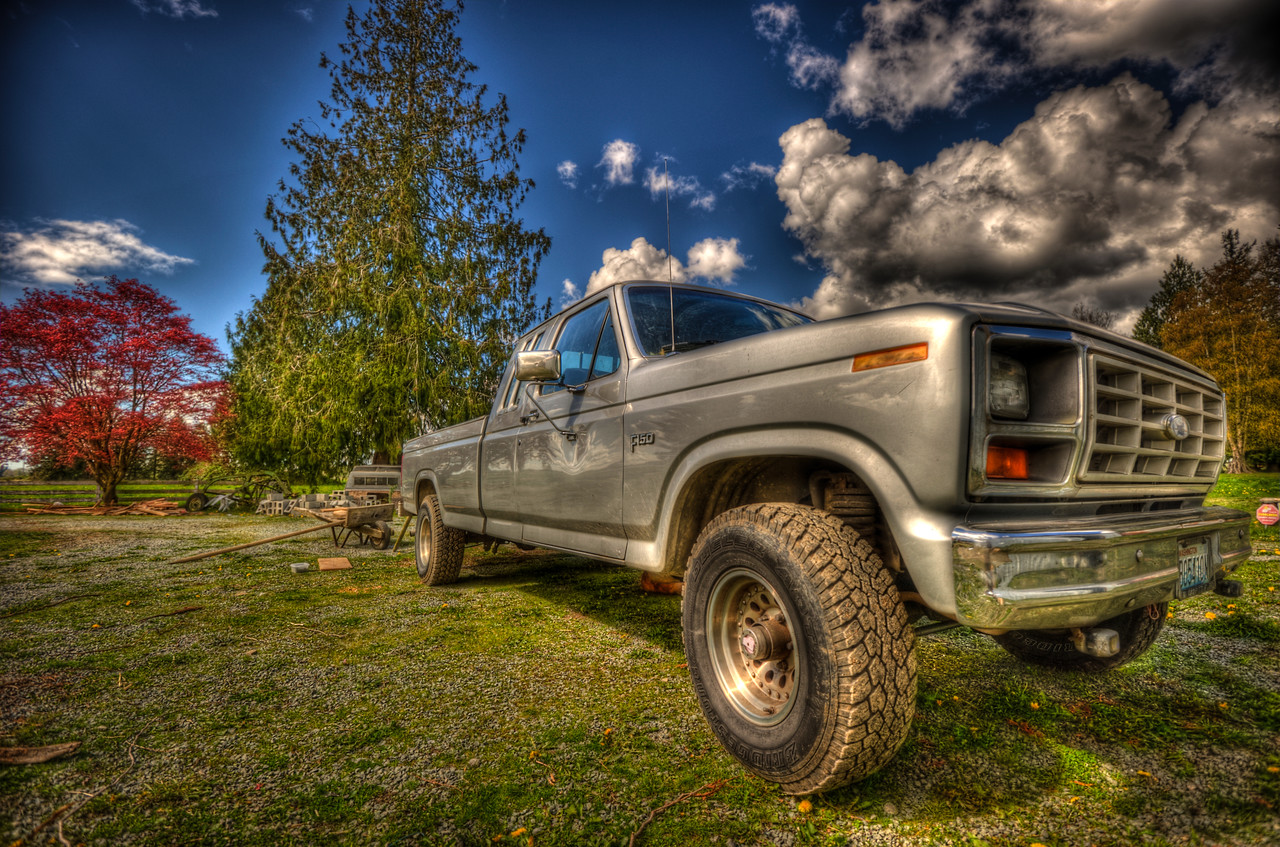 A 5 EV exposure of a Ford F-150 truck known as 'silver' to my mother, the truck is parked on her farm in Washington State.  Shot with a Nikon d700, edited in Photomatix & Lightroom.