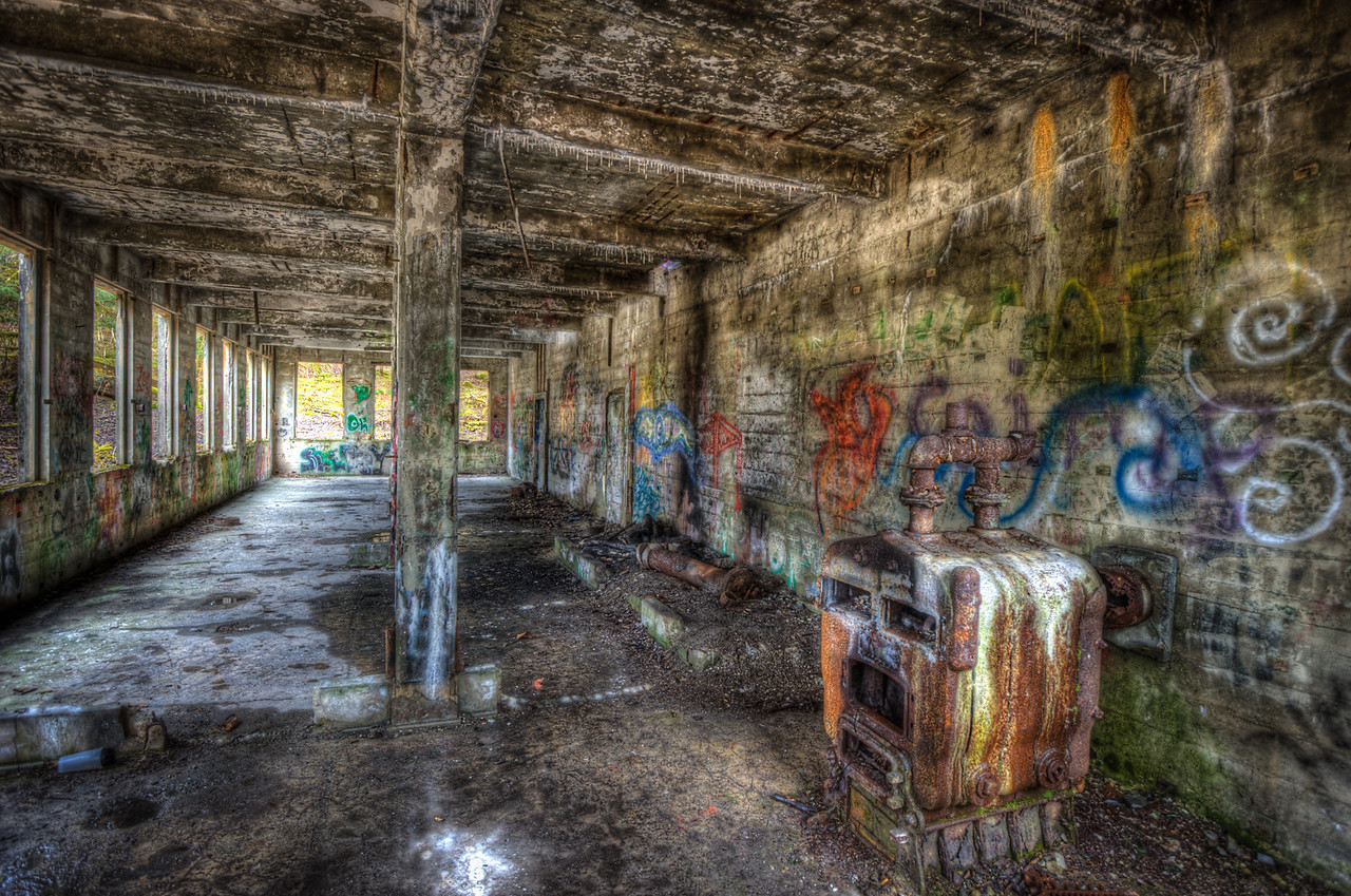 A 5 EV HDR photograph from in side one of the building remnants of the Treadwell Gold Mine on Douglas Island Alaska, neau Juneau Alaska.  Shot with a Nikon d700, edited in Photomatix & Lightroom.