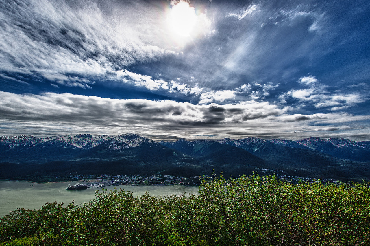 A 7 EV HDR Photograph from near the top of Mt. Robert's in Juneau Alaska.  We are looking West across the Gastineau Channel at the town of Douglas Alaska on Douglas Island.  Taken with a Nikon d700, edited in HDR Efex Pro & Lightroom.