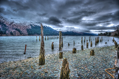 A 5 EV HDR taken at Sandy Beach on Douglas Island Alaska near Juneau Alaska with remnants of the Treadwell Gold Mine.  Shot with a Nikon d700, edited in Photomatix & Lightroom.