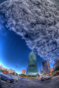 Interesting Cloud Shape above skyscrapers in Dallas Texas.  Shot with a Sony Alpha a300, edited in Photomatix & Lightroom.