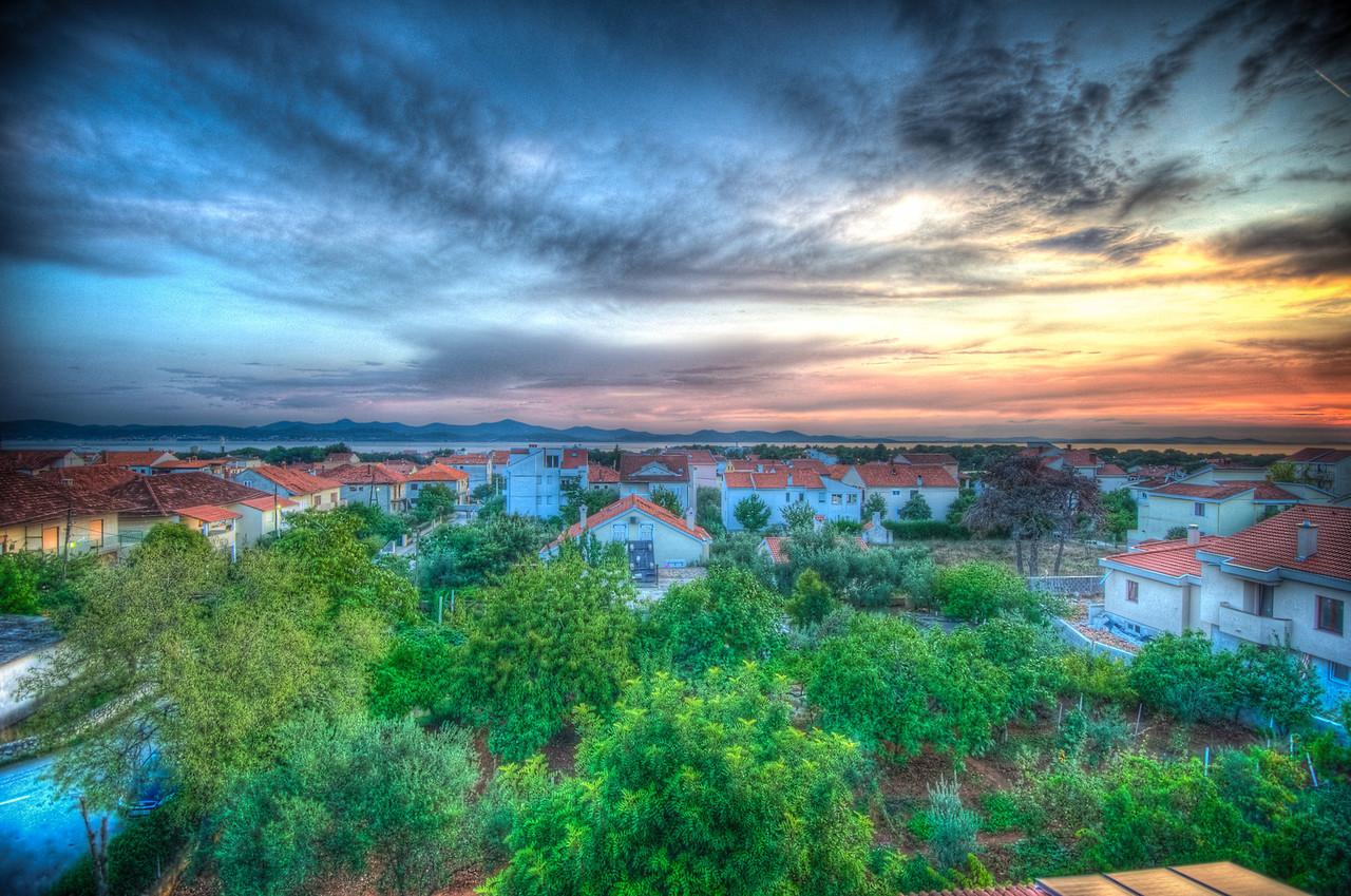 A 9 EV HDR Photograph of the sunset along the Dalmatia Coast in Zadar Croatia.  Taken with a Nikon d700, edited in Photomatix & Lightroom.