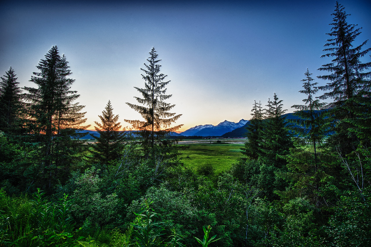 A 7 EV HDR Photograph of a late summer sunset, taken at the North end of Douglas Island Alaska, near Juneau Alaska.  Taken with a Nikon d700, edited in HDR Efex Pro & Lightroom.