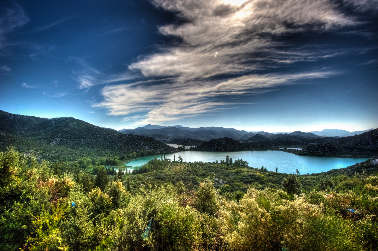 A 7 EV HDR Photograph of the Bacina Lakes along the Croatia - Bosnia & Herzegovina Border.  Taken with a Nikon d700, edited, in Photomatix & Lightroom.