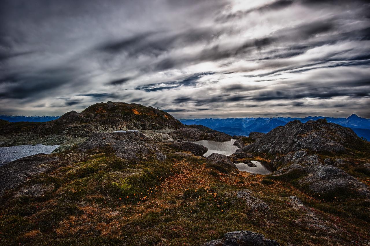 A 5 EV HDR Photograph taken near the top of Mt. Jumbo on Douglas Island Alaska, near Juneau Alaska.  Taken with a Nikon d700, edited in HDR Efex Pro & Lightroom.