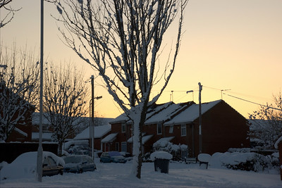 A quick HDR of the snow during sunset, near where we live.