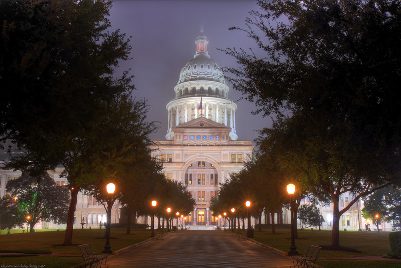 An HDR of the Texas Capitol taken during one of the few times we actually have fog... <br /> <br /> This was shot at ISO 100 / F11 bracketed at +-3. I used my 17-55mm 2.8 IS EF-S lens for this one...<br /> <br /> I looked very official out there! People kept asking me if they were allowed on the grounds.. hahaha