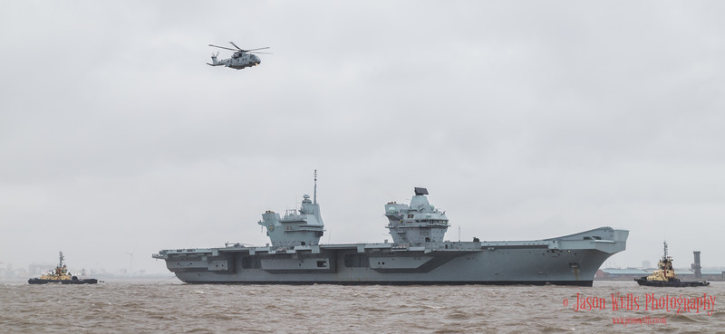 Merlin helicopter overflies HMS Prince of Wales