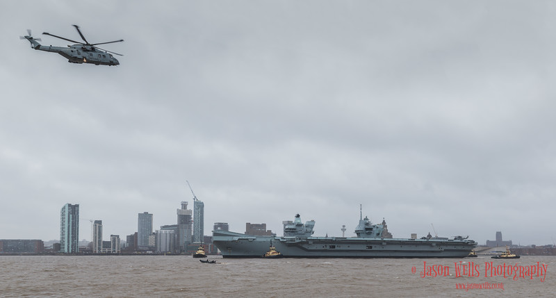 Panorama of HMS Prince of Wales on the Liverpool waterfront