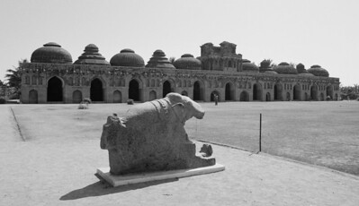 The fabled elephant stables of Hampi to house the fabled royal elephants. Note how each dome is different.