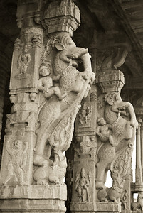 Elephant themed entrance columns to the Vithala temple.