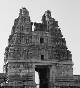 The brick and mortar gopuram at the entrance to the Vithala temple - the most ornate of all the temples in Hampi.