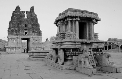 The fabled stone chariot pulled by rather small stone elephants in the Vithala temple yard.
