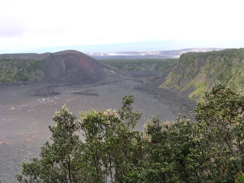 "Kilauea Iki, or ""little"" Kilauea crater.  It was beautiful. We did not have the time to do the whole hike which goes down into and across the bottom of the crater and loops back up to the top. Another ""next time."""