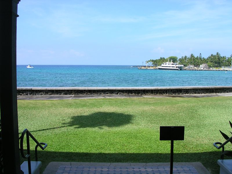Kailua Bay from the back porch of the palace.