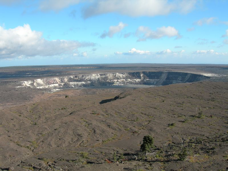 Halema'uma'u crater within the Kilauea caldera. There are some great pictures of lava erupting from this spot in the 1800s from the Volcano House. Mark Twain (among others) came here and wrote about that eruption.