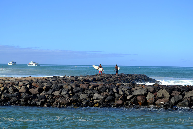 Lahaina Surfing Beach in Maui in Hawaii