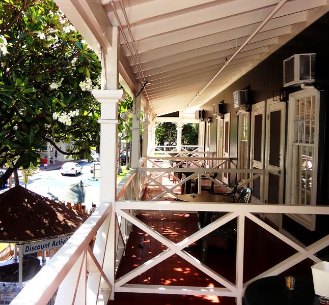 Balconies at the Pioneer Inn in Lahaina Maui Hawaii