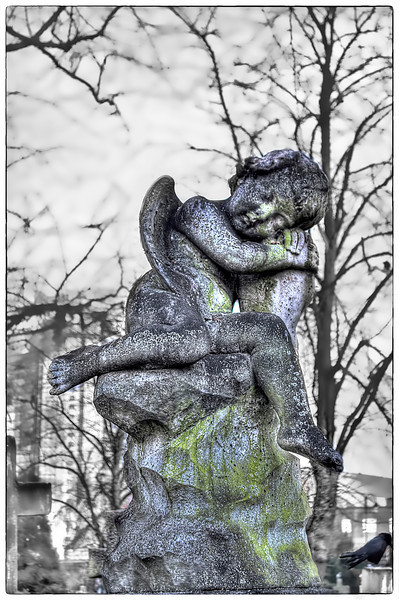 Black and white cherub at Brompton Cemetery with a hint of colour