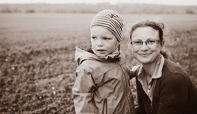 Mom and son on their farm. Portraits in Germany
