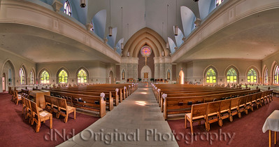 Church In Washinton Missouri Pano 1 About 170 degrees, 4 pictures, each of the 4 positions (shots) were shot 4-6 times and turned into HDR (high dynamic range), then all 4 of those HDR images was merged into a panoramic via Photoshop CS3 using it's PhotoMerge with Auto setting.